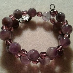 Jewelry - An amethyst and czech glass crystal beads bracelet